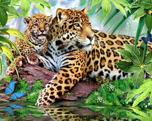Jaguar with Baby Paint by Diamonds