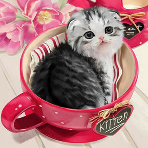 Cat in Cup Diamond Painting