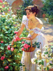 Lady Picking Roses Diamond Painting