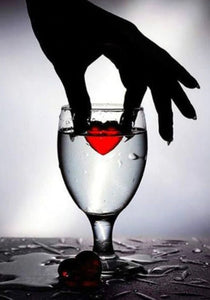 Love Heart in Water Glass Diamond Painting.