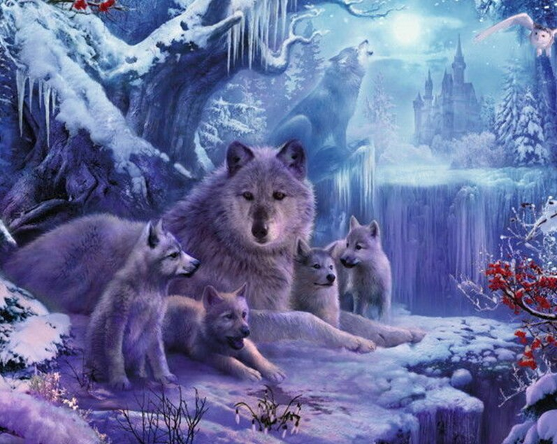 Mother wolf with Little Cubs Diamond Painting