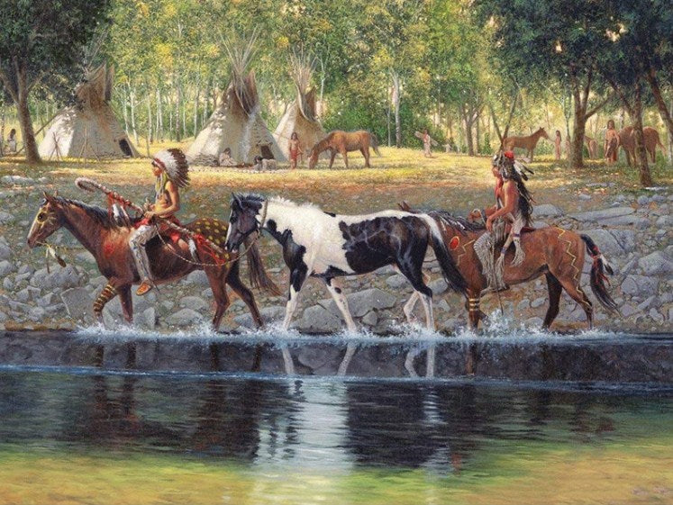 Native Americans & Horses Diamond Painting