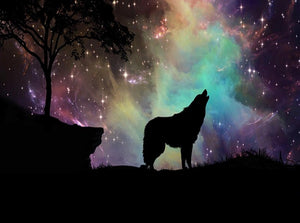 Northern Lights & Howling Wolf Diamond Painting