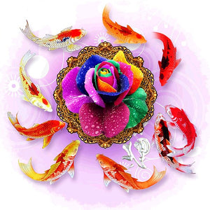 Rainbow Rose & Koi Fish Paint by Diamonds