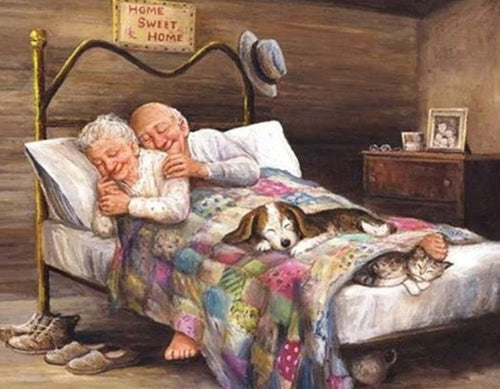 Sleeping Old Couple Paint by Diamonds