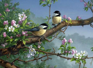 Sparrows on Tree Paint by Diamonds