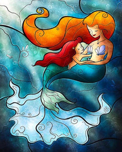 Stained Glass Mermaid & her Baby Diamond Painting