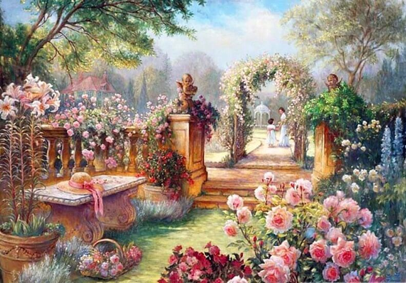 Flowers Garden Paint by Diamonds
