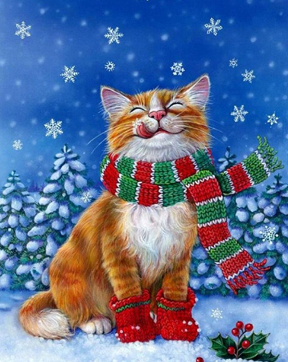 Winter Cat Diamond Painting
