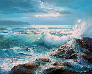 Waves Crashing on Rocks Diamond Painting Kit