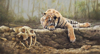 Tiger Laying near skeleton