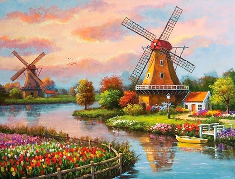 Windmill Landscape Diamond Painting