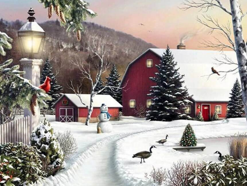 Winter View & Christmas Painting
