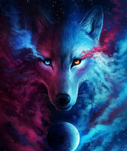 Wolf in Galaxy Paint by Diamonds