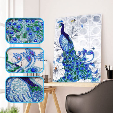 A Blue Peacock - Special Diamond Painting