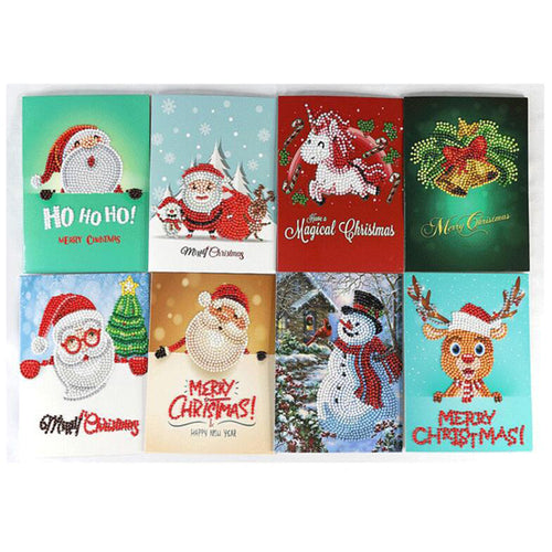 8 Pieces Set Christmas Card Diamond Paintings