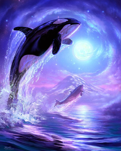 Diving Dolphins DIY Diamond Painting