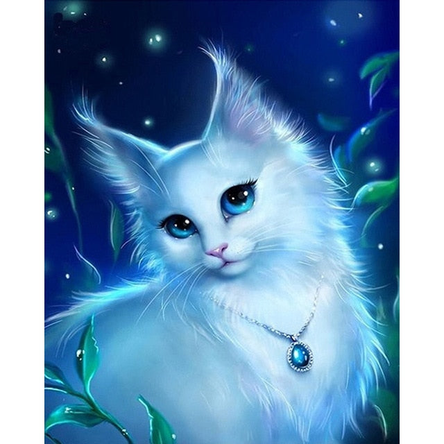 White Cat with Blue Eyes DIY Painting