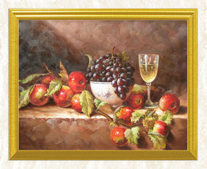 Fruits on Table with Wine Glass DIY Diamond Painting