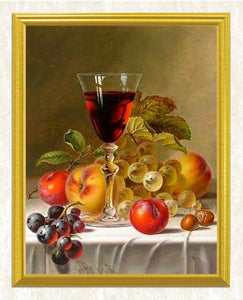 Wine Glass with some Fruits DIY Diamond Painting