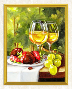 Fruit Plate & Glasses of Wine DIY Painting