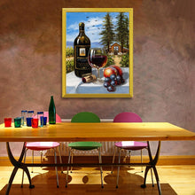 Load image into Gallery viewer, Wine Bottle & Glass with Fruits DIY Painting