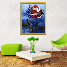 Load image into Gallery viewer, American Flag on Flower DIY Diamond Painting