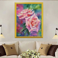 Load image into Gallery viewer, Pink Roses & Green Leaves DIY Painting