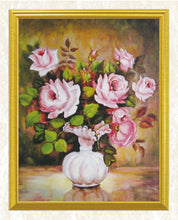 Load image into Gallery viewer, White Vase & Pink Roses