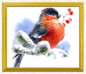 Snow Sparrow Diamond Painting