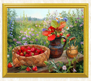 Basket Full of Strawberries & Flower Pott