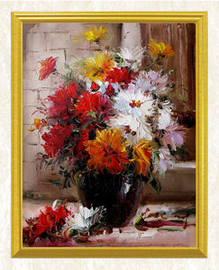 Red, Yellow & White Flowers in a Vase