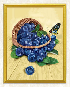 Basket of Blueberries & Butterfly