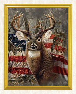 Deer & American Flag Diamond Painting