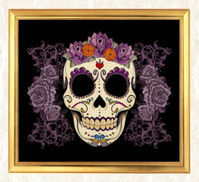 Load image into Gallery viewer, Sugar Skull & Flowers Diamond Painting