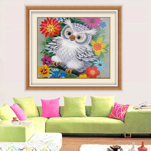 White Owl & Colorful Flowers