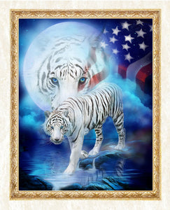 White Tigers & American Flag