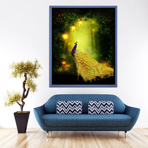 Peacock in Forest Diamond Painting