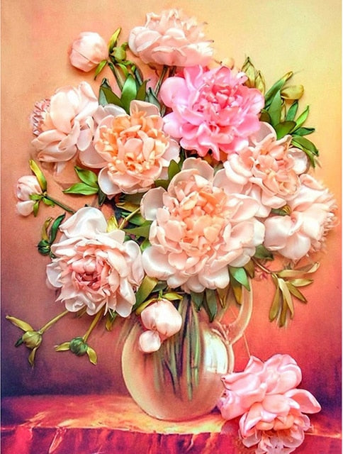 Peony Flowers in Glass Vase DIY Painting
