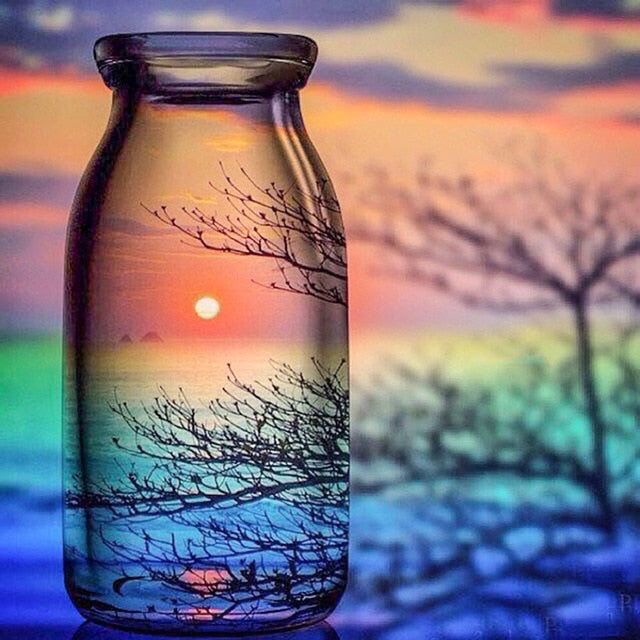 Sunset View in Glass Bottle DIY Painting