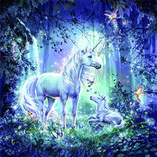 Load image into Gallery viewer, Unicorns in Forest DIY Diamond Painting