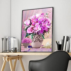 Pink & Purple Roses DIY Diamond Painting