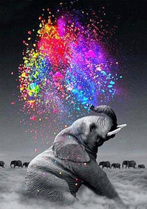 Elephant Spraying Colors DIY Diamond Painting