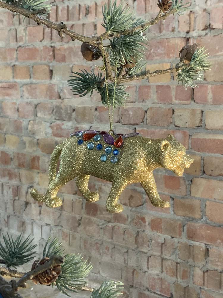 Gold Glitter Acrylic Tiger with Sequins Decoration