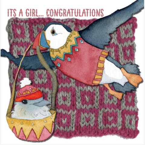 Puffin Congrats Its a Girl Greetings Card by Emma Ball