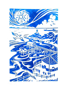Mumbles Pier and Lighthouse Mumbles in Blue Screen print sold on behalf of Emma Bissonnett