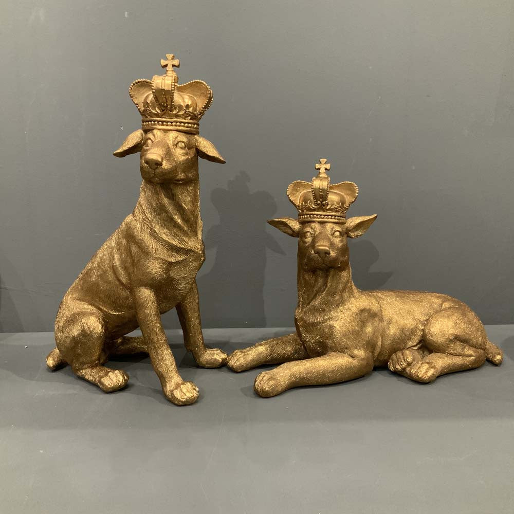 Old Gold Resin Dog with Crown