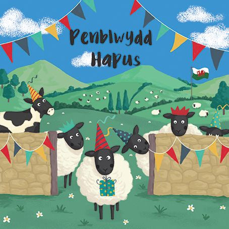 Penblwydd Hapus Sheep- Happy Birthday Card