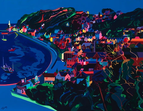 Brightly coloured painting of the Welsh village of Mumbles with Mumbles lighthouse.by Michelle Scragg.