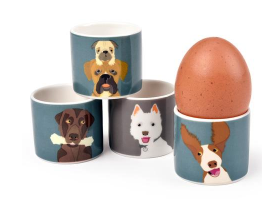 The Rabble Dog Set of 4 Fine China Egg Cups